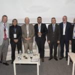 De izquierda a derecha: Harmut Frank, Ehud Keinan, Jean Marie Pierre Lehn, Jorge Alcalde (moderador del debate), Antón Valero, Robert Parker, Carlos Negro.